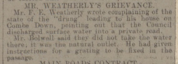 F E Weatherley's drung complaint - Bath Chronicle and Weekly Gazette - Saturday 24 May 1913