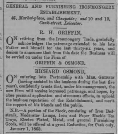 Formation of Griffin & Osmond - Leicester Journal - Friday 2 January 1863