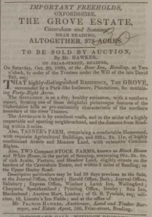 Francis Hawkes advert from 1830 - Bath Chronicle and Weekly Gazette - Thursday 28 October 1830