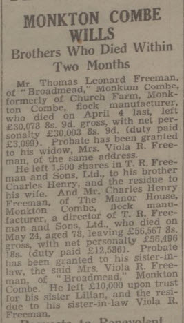 Freeman brother's wills - Bath Chronicle and Weekly Gazette - Saturday 25 October 1947