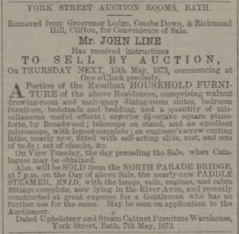 Grosvenor Lodge effects auction - Bath Chronicle and Weekly Gazette - Thursday 8 May 1873