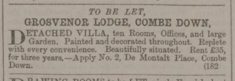 Grosvenor Lodge to be let - Bath Chronicle and Weekly Gazette - Thursday 5 October 1865