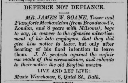 J W Soane & C Milsom - Wiltshire Independent - Thursday 24 August 1865