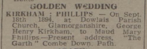 Kirkham golden wedding - Bath Chronicle and Weekly Gazette - Saturday 16 September 1944