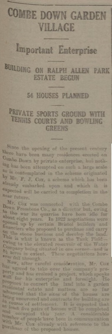 L Combe Down Garden Village - Bath Chronicle and Weekly Gazette - Saturday 24 March 1923