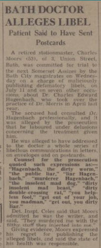 Libels on Dr Hagenbach - Bath Chronicle and Weekly Gazette - Saturday 13 December 1941