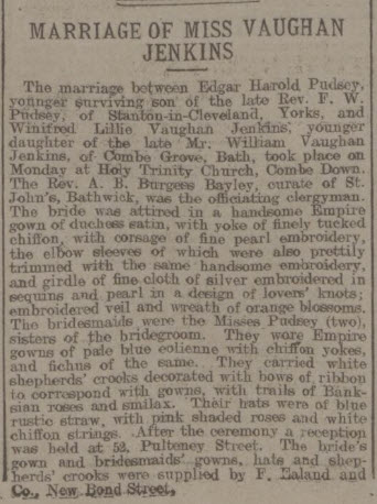 Marriage of Miss Vaughan Jenkins - Bath Chronicle and Weekly Gazette - Thursday 3 May 1906