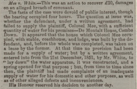 Mee v White - Bath Chronicle and Weekly Gazette - Thursday 21 December 1854