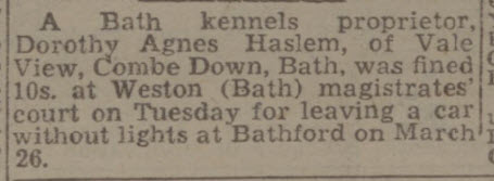 Mrs Haslem kennels proprietor - Bath Chronicle and Weekly Gazette - Saturday 14 May 1949
