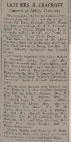 Obituary of Mrs Cracroft - Bath Chronicle and Weekly Gazette - Saturday 5 June 1937