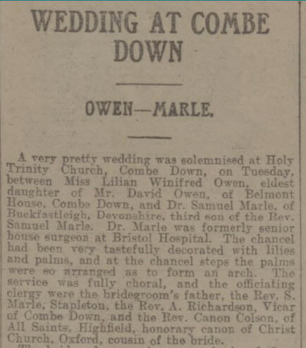 Owen wedding - Bath Chronicle and Weekly Gazette - Saturday 21 December 1912