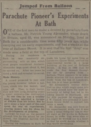 Patrick Young Alexander (1867 - 1943) - Bath Chronicle and Weekly Gazette - Saturday 17 July 1943