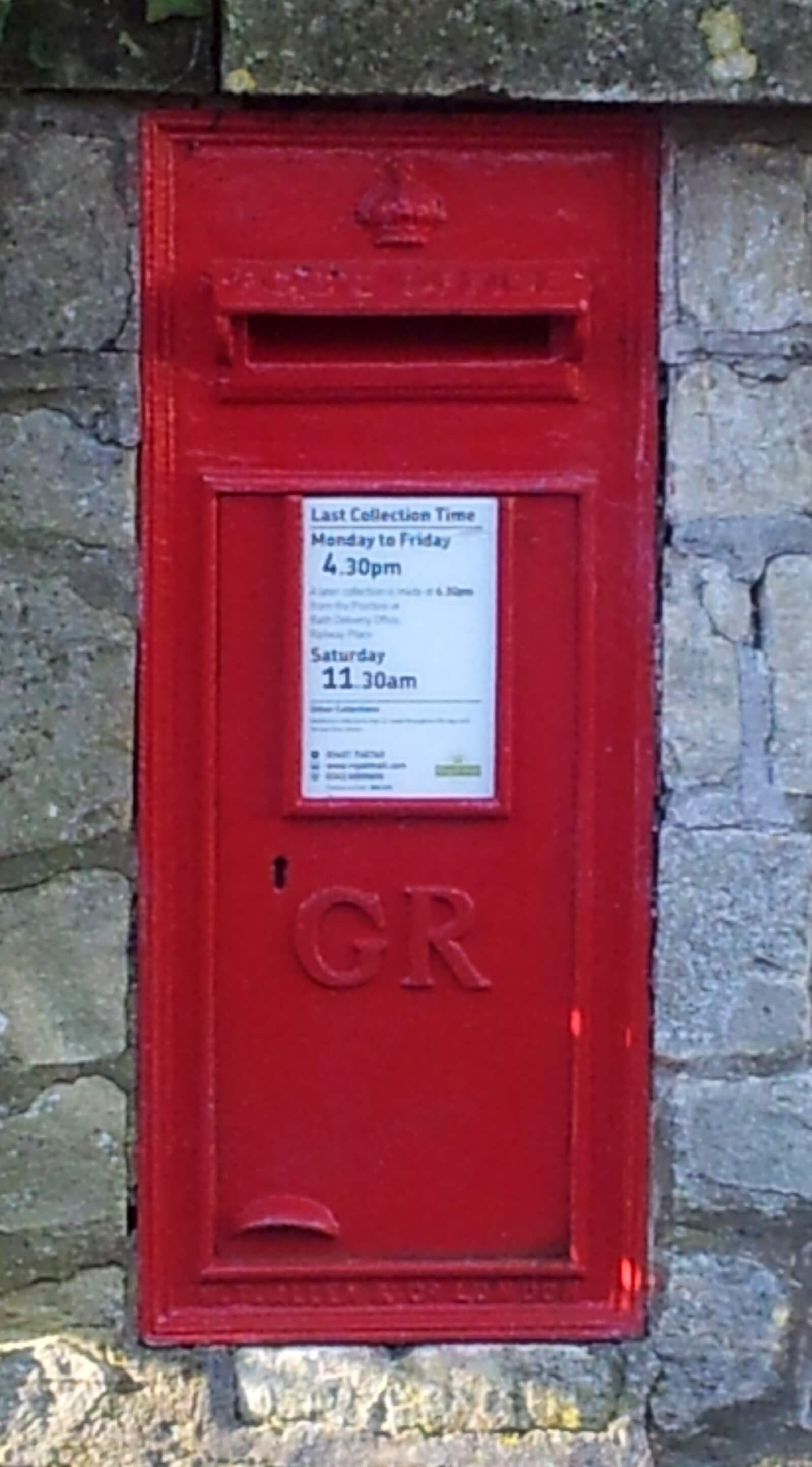 Post box on Church Road by Tyning Road