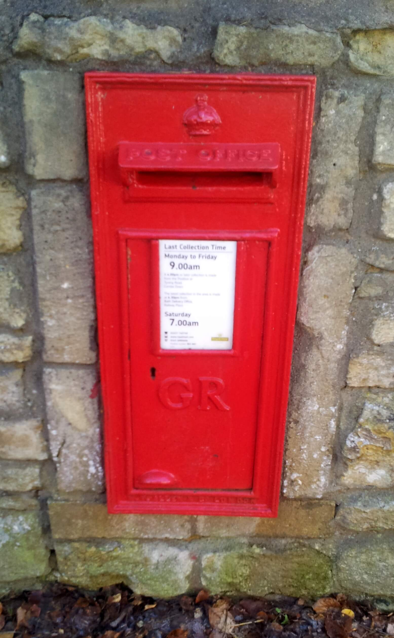 Post box on North Road by Shaft Road