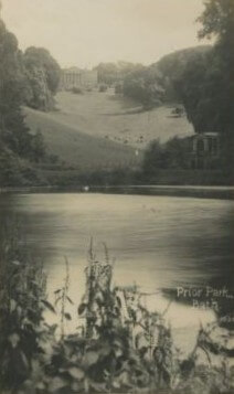 Prior Park lake, bridge and house, early 1900s