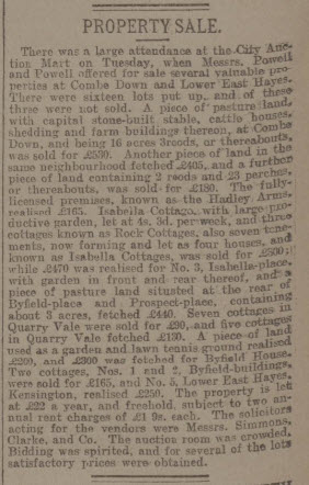 Property sale - Bath Chronicle and Weekly Gazette - Thursday 12 December 1901