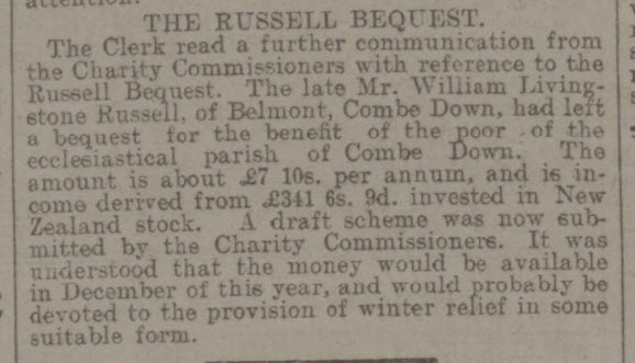 Russell bequest - Bath Chronicle and Weekly Gazette - Saturday 30 March 1912