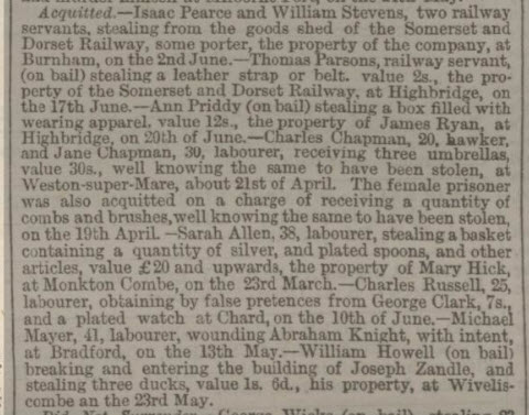 Sarah Allen acquitted - Bath Chronicle and Weekly Gazette - Thursday 8 July 1869