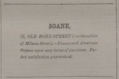 Soane advert - Bath Chronicle and Weekly Gazette - Thursday 25 March 1880