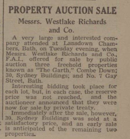 The Garth fails to sell - Bath Chronicle and Weekly Gazette - Saturday 25 September 1937