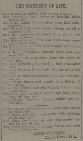 The mystery of life by James W Soane - Bath Chronicle and Weekly Gazette - Saturday 21 September 1912
