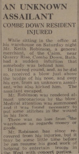 Unknown assailant - Bath Chronicle and Weekly Gazette - Saturday 19 July 1941