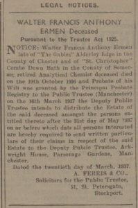 Walter Ermen will notice - Bath Chronicle and Weekly Gazette - Saturday 27 March 1937