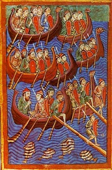 Wikinger. Danes about to invade England. From Miscellany on the life of St. Edmund from the 12th century.