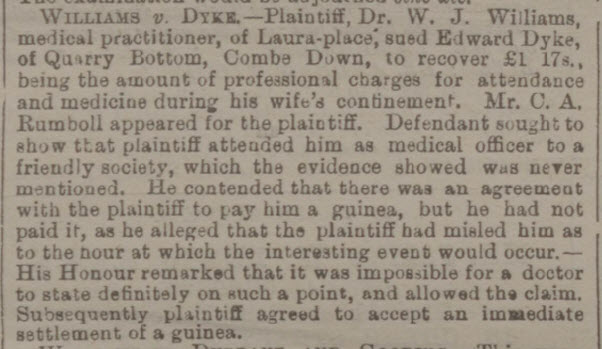 Williams v Dyke - Bath Chronicle and Weekly Gazette - Thursday 21 December 1893