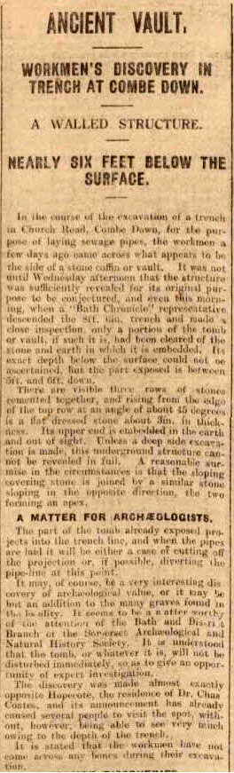 Ancient vault - Bath Chronicle and Weekly Gazette - Saturday 11 April 1925