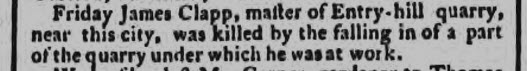 Entry Hill quarry - Bath Chronicle and Weekly Gazette - Thursday 6 June 1776
