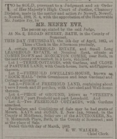 Sale, inter alia, of Street's quarry - Bath Chronicle and Weekly Gazette - Thursday 5 April 1883