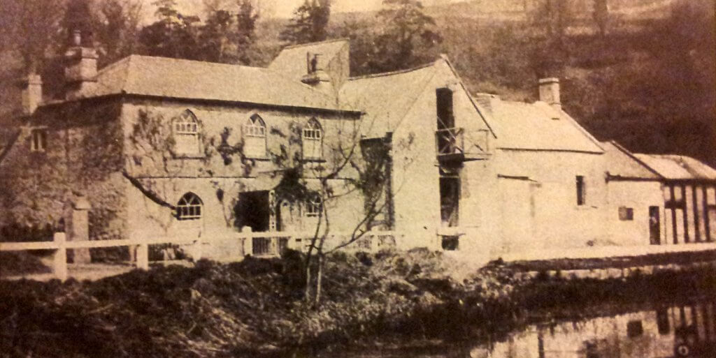 Tucking Mill about 1905 showing the Fuller;s earth factory beside the cottage