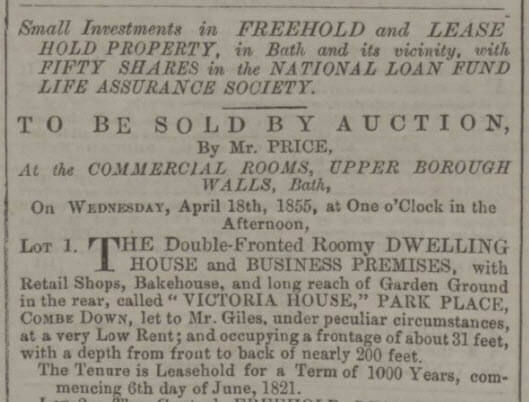 Auction of Victoria House, Park Place, Combe Down - Bath Chronicle and Weekly Gazette - Thursday 29 March 1855