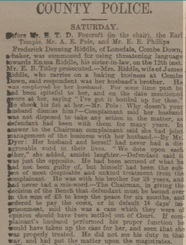 Frederick Denning Riddle - Bath Chronicle and Weekly Gazette - Thursday 26 May 1898