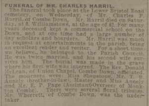 Funeral of Charles Harril - Bath Chronicle and Weekly Gazette - Saturday 11 December 1915