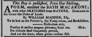 Publication of The Bath Macaroni - Bath Chronicle and Weekly Gazette - Thursday 15 November 1781
