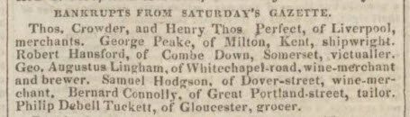 Robert Hansford bankrupt - Bath Chronicle and Weekly Gazette - Thursday 25 August 1825