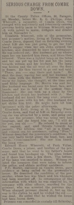 Serious charge from Combe Down - Bath Chronicle and Weekly Gazette - Thursday 12 November 1903