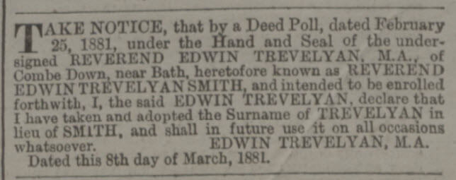 Trevelyan name change - Bath Chronicle and Weekly Gazette - Thursday 10 March 1881