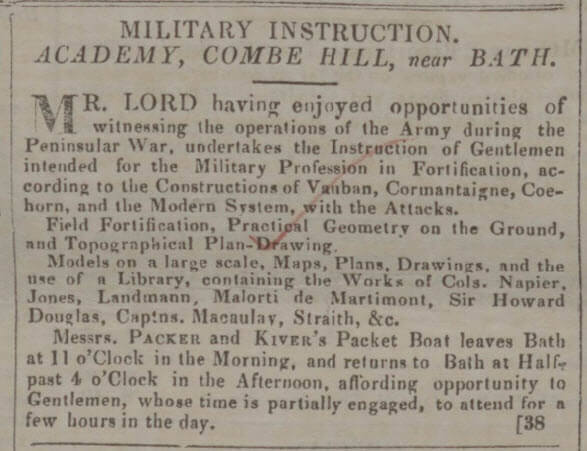 Advert for Combe Hill Academy - Bath Chronicle and Weekly Gazette - Thursday 26 October 1843