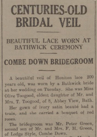 Centuries old veil - Bath Chronicle and Weekly Gazette - Saturday 18 August 1934