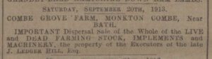 Combe Grove farm stock sale - Western Gazette - Friday 15 August 1913