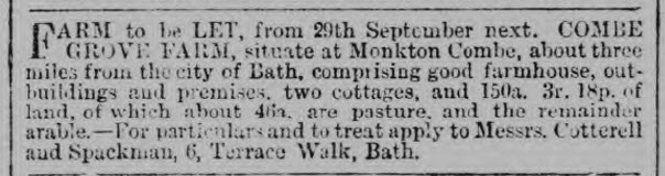 Combe Grove farm to let - Bath Chronicle and Weekly Gazette - Thursday 29 August 1878