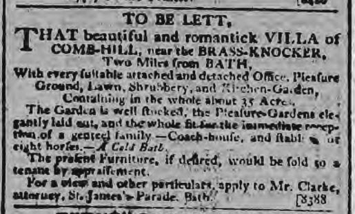 Combe Hill House to be let - Bath Chronicle and Weekly Gazette - Thursday 14 May 1801