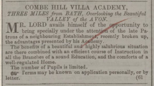 Combe Hill Villa Academy - Bath Chronicle and Weekly Gazette - Thursday 26 February 1852