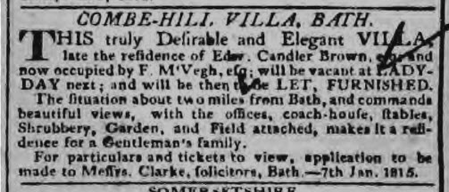 Combe Hill Villa - Bath Chronicle and Weekly Gazette - Thursday 12 January 1815