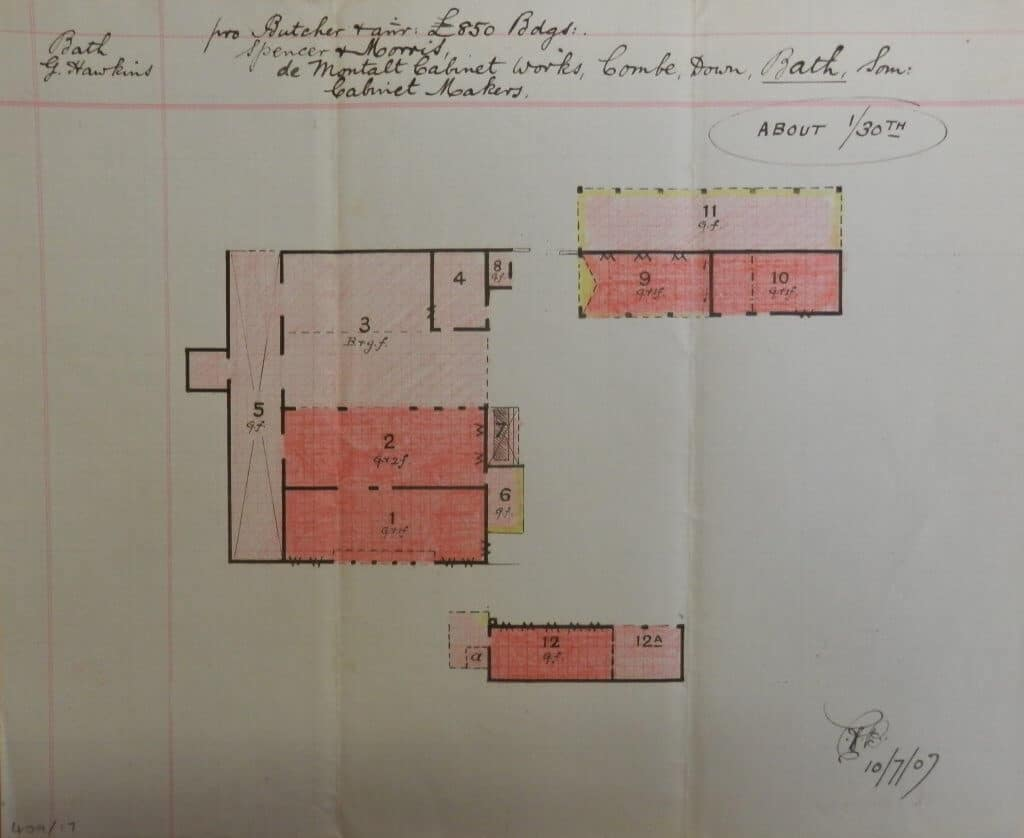 De Montalt Mill plan from insurance report in 1907