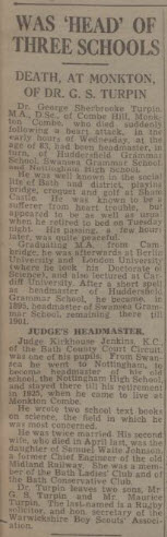 Death of Dr Turpin - Bath Chronicle and Weekly Gazette - Saturday 1 January 1949