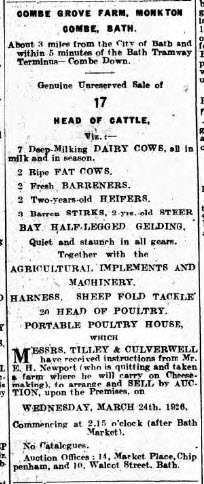 Ernest H Newport, Combe Grove farm - Wiltshire Times and Trowbridge Advertiser - Saturday 13 March 1926